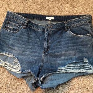 High Waist Frayed Hem Denim Shorts